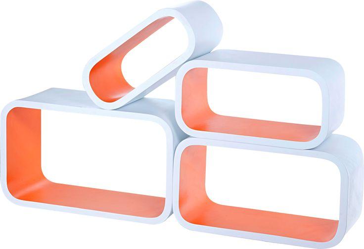 Set 4 etajere alb/portocaliu