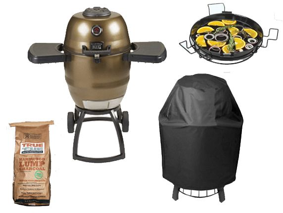 Includes:  Broil King Keg Grill/Smoker w/Cart  Grill Diffuser Kit  Grill Cover  Charcoal – True Cue Premium Lump