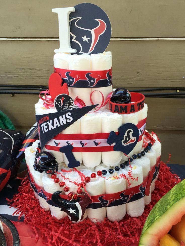 Nfl Houston Texans Diaper Cake Baby Shower Texans Baby Shower Diy Baby Shower Gifts Baby Boy Shower