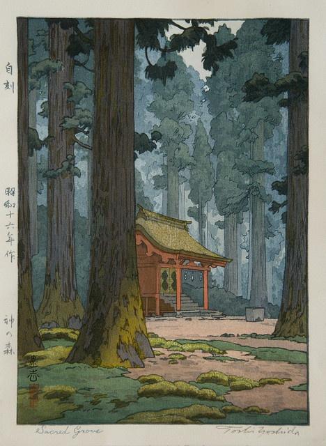 Ukiyo-e Toshi Yoshida Sacred Grove by griffinlb, via Flickr