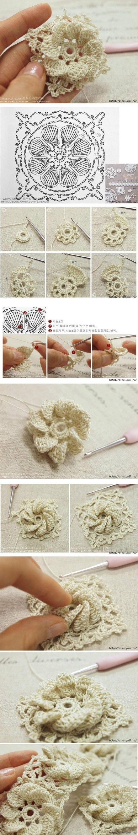 """#Crochet_Tutorial - """"This pretty flower design is surrounded by crochet to make it a useful granny square. Can be combined with other squares or used all together for a bag or pillow cover perhaps"""" Enjoy from #KnittingGuru http://www.KnittingGuru.etsy.com"""