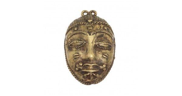 """Veche masca-amuleta tribala Baule - bronz """" cire perdue """" - Coasta de Fildes"""