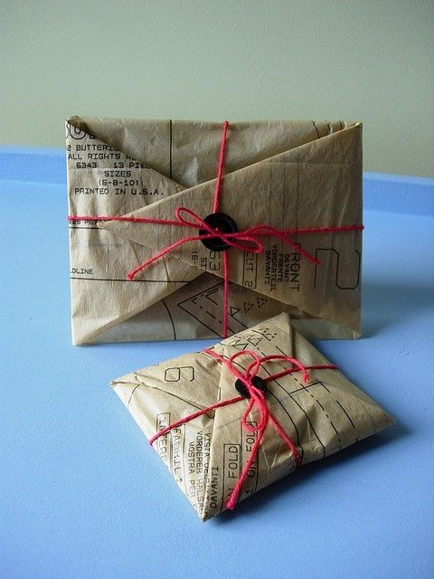 Gift wrap idea with pattern tissue :: Use pattern paper as collage material ...