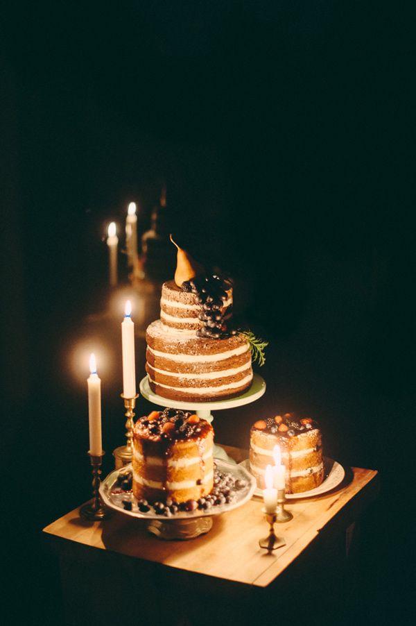 naked wedding cakes // photo by JMB Wedding Photography, cakes by @Alana Jones-Mann http://ruffledblog.com/aztec-winter-wedding-inspiration #cakes #weddingcake