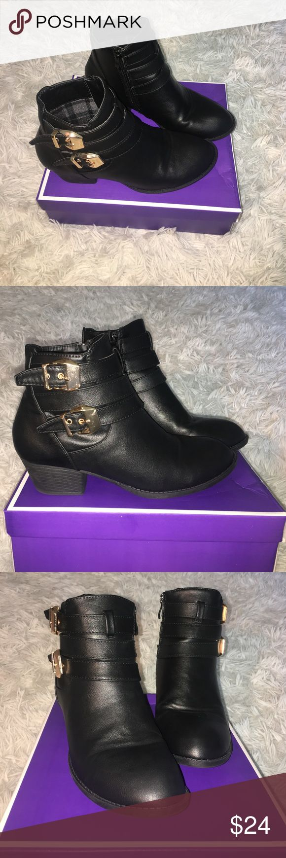 Black boots with gold buckle still new These leather booties have a 1.5 inch heel with two gold buckles on the outside and zip up on the inside. Just bought these a little over a week ago and they've only been worn a couple of times! (Shoes are not from Zara) Zara Shoes Ankle Boots & Booties