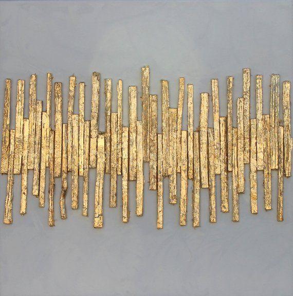 Blattgold, abstrakte Malerei, gold, 40x40x1,5 cm, Strukturbild, mischtechnik, Papier, atelier maltopf, Struktur Malerei, Struktur Bild, #33