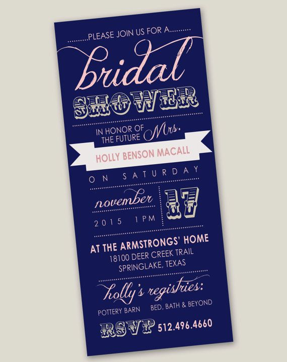 Navy and Pink Bridal Shower Invitation - Custom Design on Etsy - fits legal size envelopes, easy to print (colors can be changed)