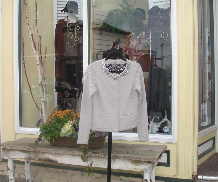 This LuckyLu jacket with rhinestone neckline in flowered pattern will add a hint of elegance to any outfit. Find LuckyLu in the beautiful downtown area of Lindsay & Port Perry at Brittany N Bros boutiques.  Look for brittanynbros on Facebook & Twitter and don't forget to sign up for our newsletter at http://www.brittanyandbros.com