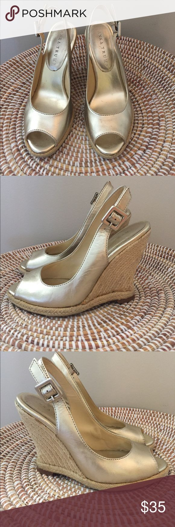 Ivanka Trump gold espadrilles wedges sandals Worn multiple times. Still have a lot of life left!! Scuff on the inside of one shoes, see photo. Gold color goes with everything! Great for spring/summer. 🌸 Ivanka Trump Shoes Wedges