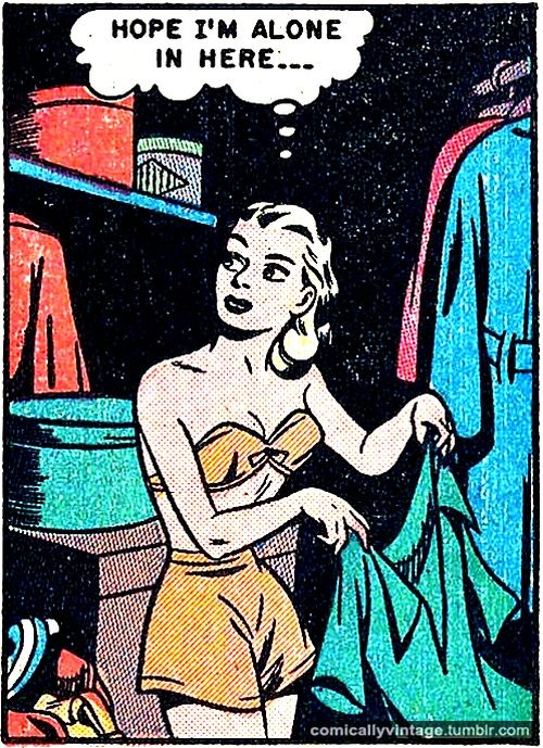 """Comic Girls Say.. """"Hope I'm alone in here """"   #Vintage #Comic #PopArt"""