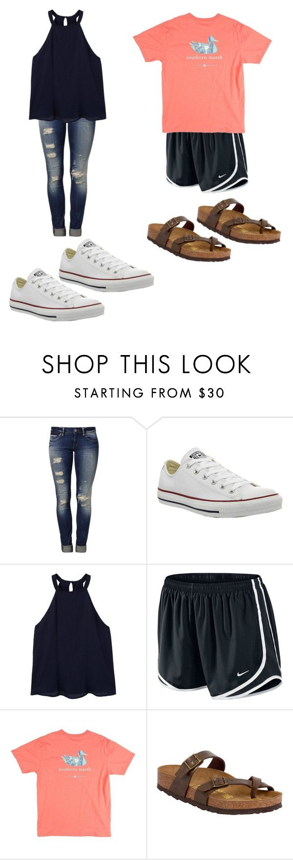 """Every Basic Girl at the Back To School Church Function 😂😂😂"" by blessing2002 ❤ liked on Polyvore featuring Mavi, Converse, MANGO, NIKE and Birkenstock"