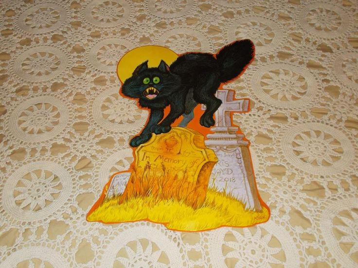 vintage black cat grave yard halloween diecut kirk cardboard decoration - Cardboard Halloween Decorations