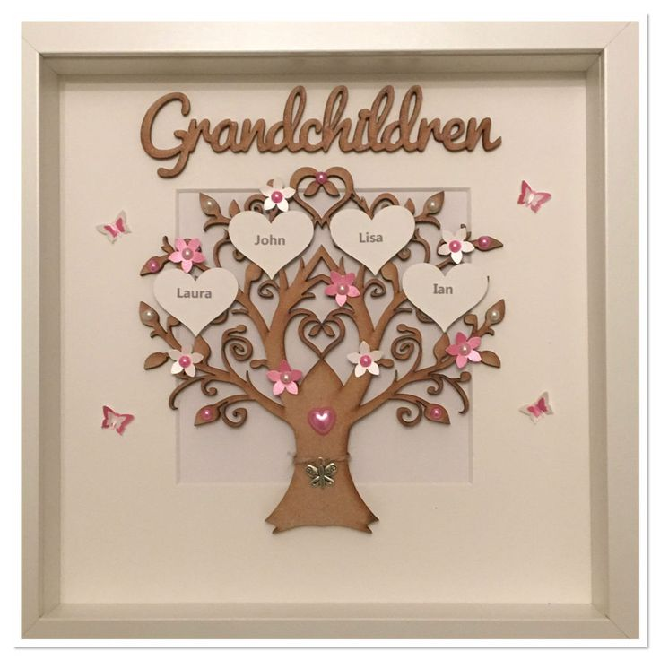 Personalised Grandchildren Family Tree 3D Box Frame Christmas Gift Colour Choice   Home, Furniture & DIY, Home Decor, Photo & Picture Frames   eBay!