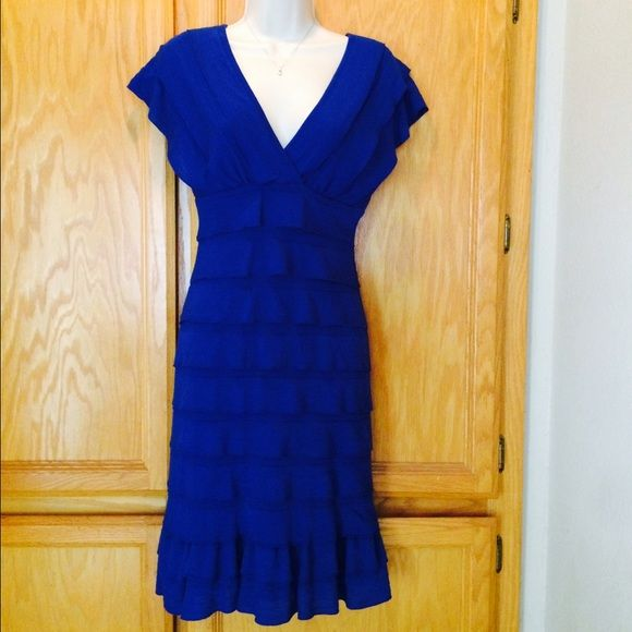 Royal blue dress by Studio M This is a beautiful royal blue Studio M dress from Macy's. It's in EUC, I've worn it 4 times to different big events on all sides of the family, so I can't exactly show up to the next one in the same dress Studio M Dresses Midi