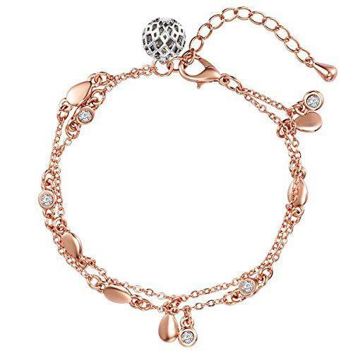 Lulu & Jane Damen-Armband ros�vergoldet verziert mit Kristallen von Swarovski� wei� 18 + 4 cm - Armband Ros�gold Bettelarmband Kristall Armband