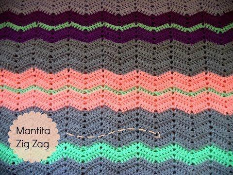 Manta de ganchillo puntada Zig Zag (Tutorial paso a paso) - Crochet Zigz...