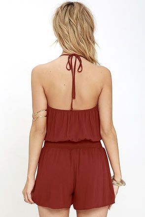 Take the Leap Rust Red Romper at Lulus.com!
