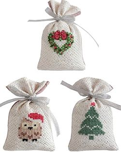 Christmas Gift Bag Cross Stitch Kits - Gold/Silver Set of 3