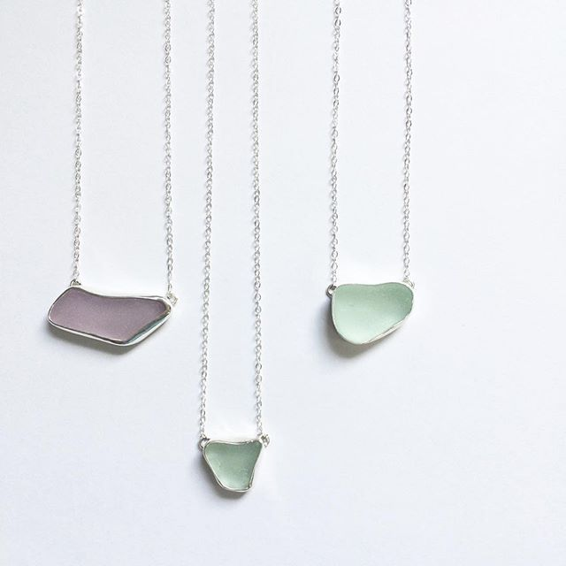 The Linda necklace.  Simple and bold at the same time.  Using your sea glass these are only $49 each.  Message me to order. #seaglass #beachglass #madebymegjewelry #seaglassnecklace