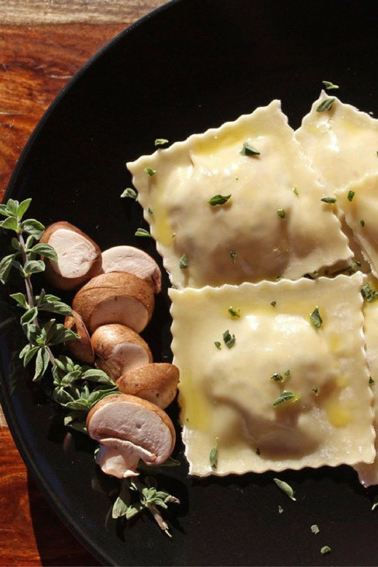 Mushroom and sun-dried tomato ravioli made with wonton wrappers stuffed with mushroom sun-dried tomato cheese filling and a delightful lemon butter sauce.