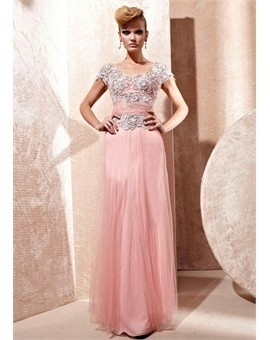 In Stock Elegant Floor-length Evening Dress With Beadings