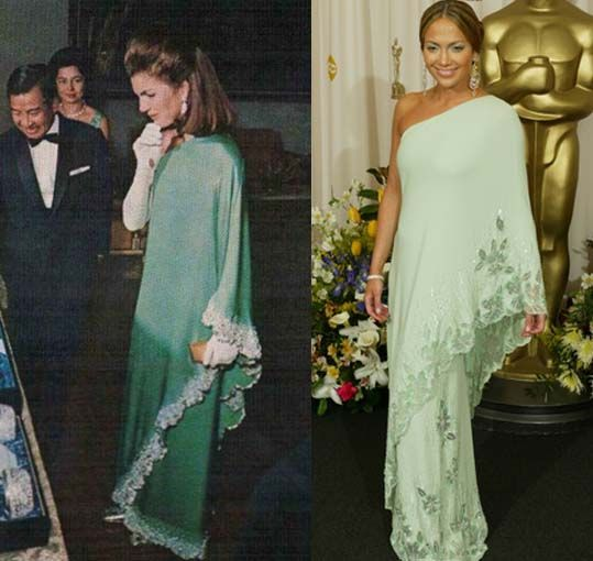 Jackie O's Valentino sari-inspired dress and the redux for JLO now