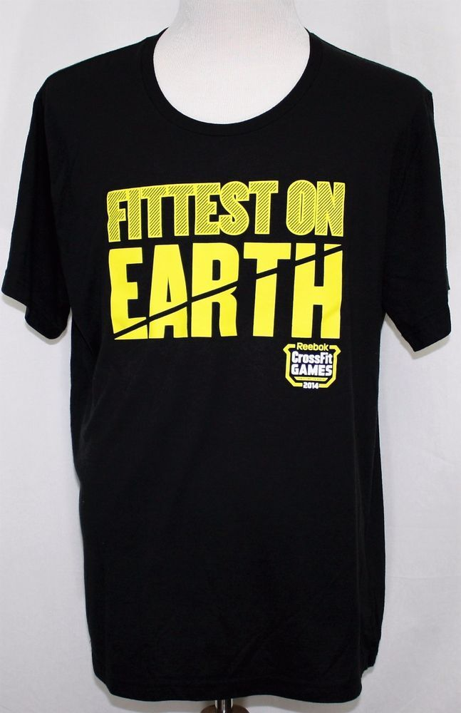 "2014 REEBOK CROSSFIT GAMES ""FITTEST ON EARTH"" T-Shirt Black 2XL NWOT #Reebok #BasicTee"
