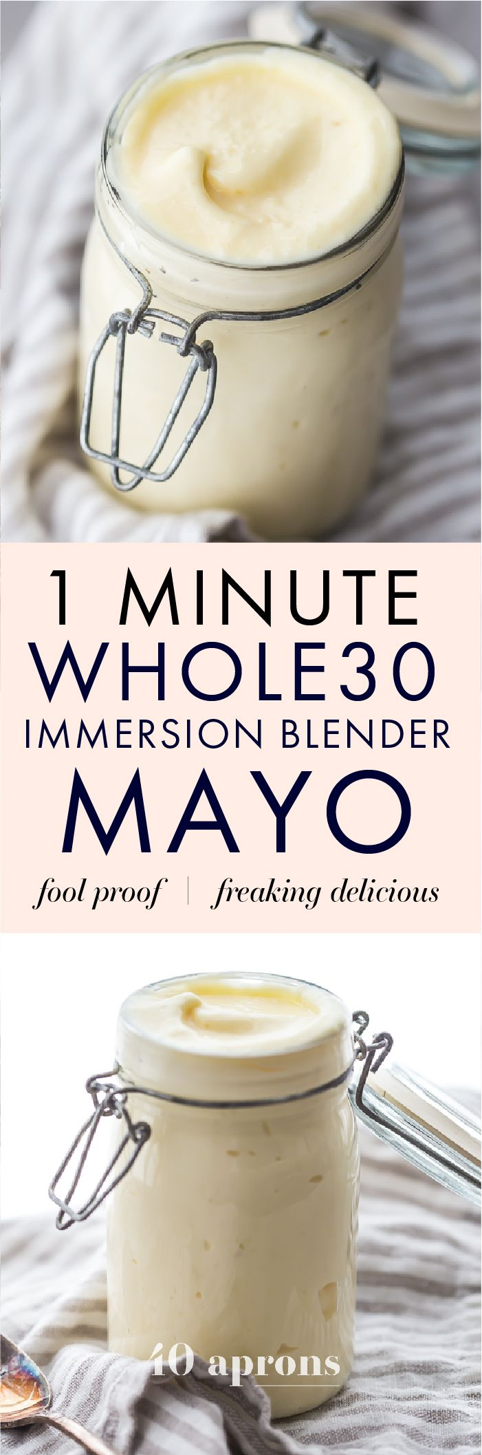 This Whole30 immersion blender mayo is ready in just about 60 seconds - totally life-changing! It's rich and so versatile and pretty darn fool-proof, made with only a few ingredients. You'll be obsessed with this one-minute Whole30 mayo as soon as you try it. Every single Whole30 needs this Whole30 immersion blender mayo recipe, I promise. You're already spending enough time in the kitchen during a round, so convert your Whole30 mayo recipe to a Whole30 immersion blender mayo recipe, and…