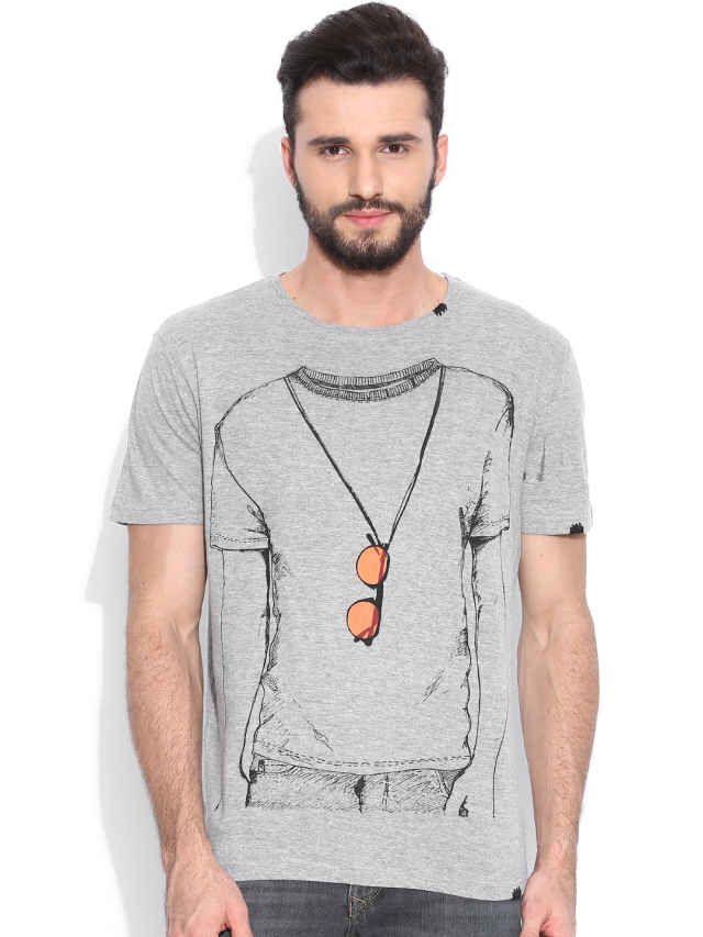Dream of Glory Inc. Grey Melange Printed T-shirt