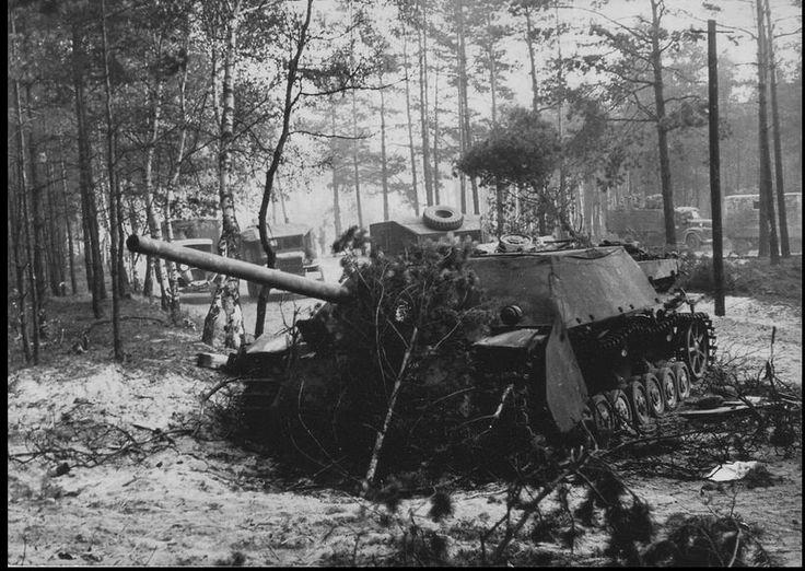 Jagdpanzer IV / 70 tanks (V) (Sd.Kfz 162/1) stricken on the outskirts of Berlin. 1945.