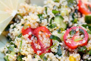 Quinoa with veges and tahini yoghurt