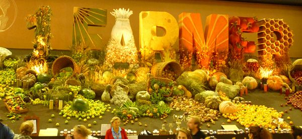 The Winning entry in the District Exhibit at the Sydney Royal Easter Show, Central District. A Diorama make entirely from fruit, vegetable, preserves, grains and wool