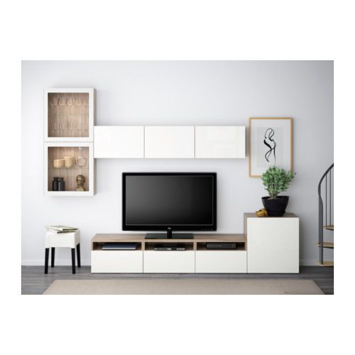 BESTÅ TV storage combination/glass doors - walnut effect light gray/Selsviken high gloss/white clear glass, drawer runner, soft-closing - IKEA