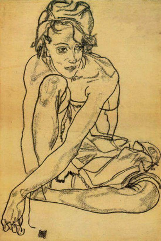 Egon Schiele. Woman crouching 1918 Egon Schiele paintings plastic arts, visual arts, art