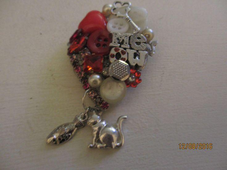 Handmade New I Love Cats Brooch, Cat Pin, Cat Jewelry, Cat Charm, Meow Pin