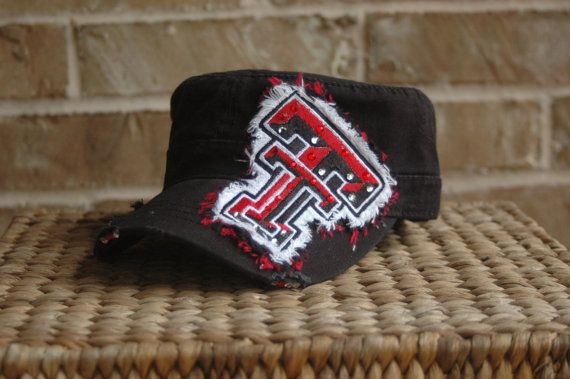 Texas Tech Bling Hat  Custom Military Style by shellworks on Etsy, $38.00
