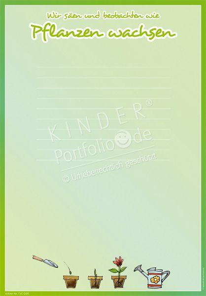 """Kindergarten Portfolio Vorlagen """"Wir beobachten wie Pflanzen wachsen"""""""