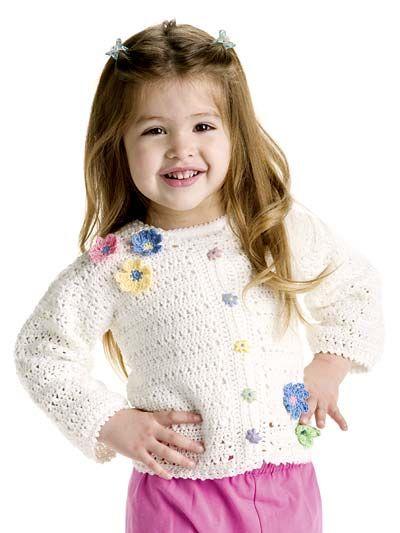 Crochet - Patterns for Children & Babies - Sweater Patterns - Spring Flowers Cardigan