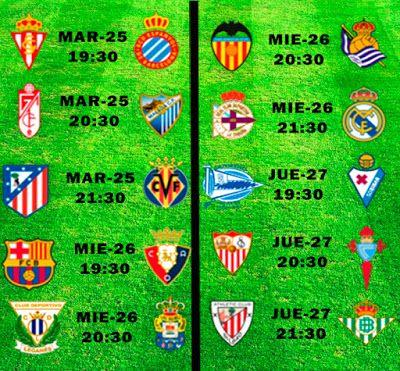 La Liga Full: Horario Jornada 34