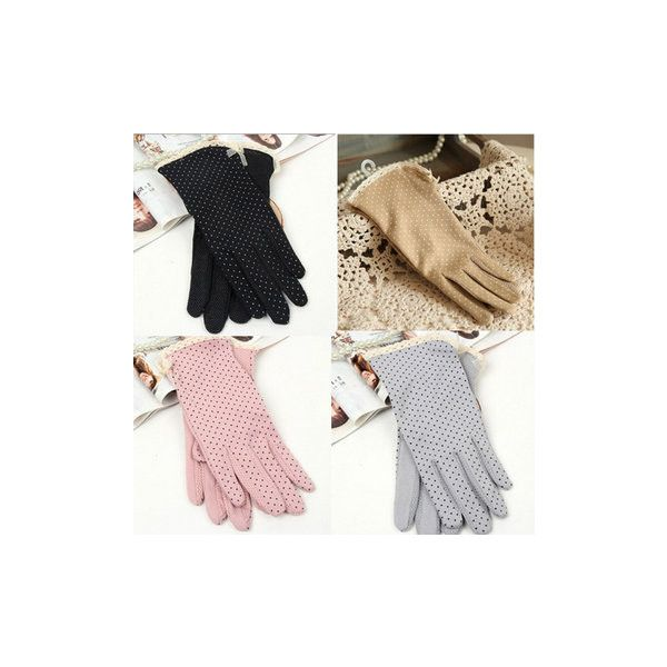 Dot Print Design Short Gloves Driving Sunscreen Gloves ($6.19) ❤ liked on Polyvore featuring accessories, gloves, short lace gloves, dot gloves, windproof gloves, polka dot gloves and thin gloves