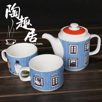 Moomin tea service set - stacks into Moomin house