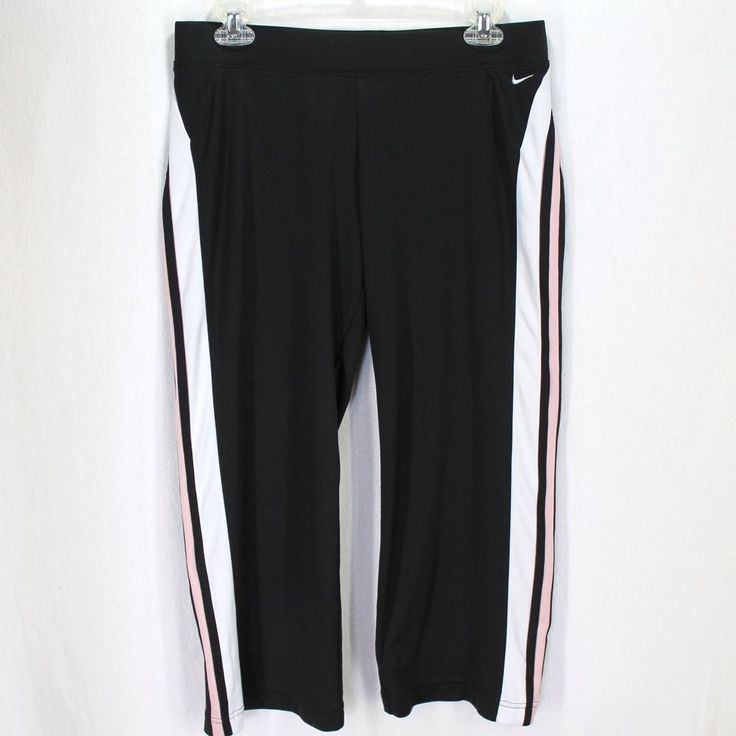 Nike Capri Pants Sz M 8/10 Black Pink White Athletic Fitness Yoga #Nike #Capris