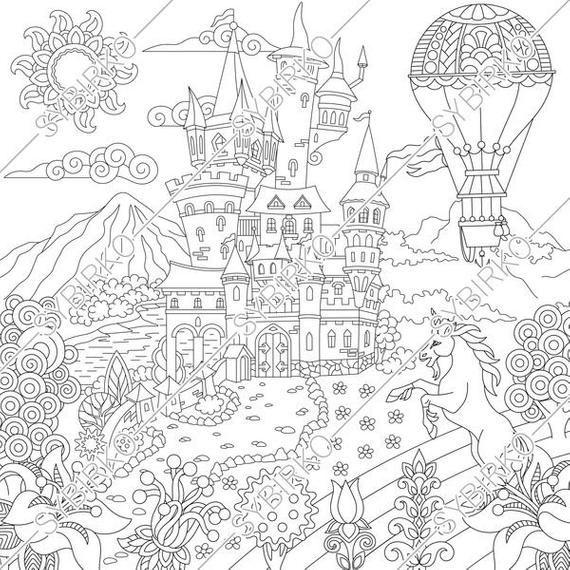 Fairytale Castle Fantasy Deer Flying Dragon Hot Air Balloon