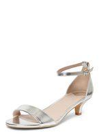 Womens Wide Fit Silver 'Sundae' Low Heel Sandals- Silver