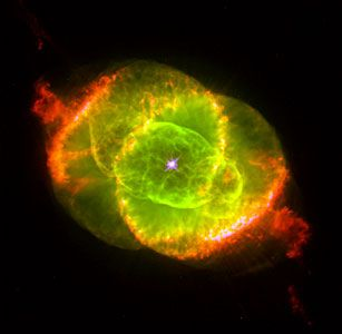 This Hubble Space Telescope image shows one of the most complex planetary nebulae ever seen, NGC 6543, nicknamed the 'Cat's Eye Nebula.' Hubble reveals surprisingly intricate structures including concentric gas shells, jets of high-speed gas and unusual shock-induced knots of gas. Estimated to be 1,000 years old, the nebula is a visual 'fossil record' of the dynamics and late evolution of a dying star.