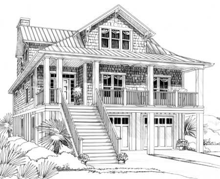 Plan W15035NC: Cottage, Narrow Lot, Vacation, Low Country, Beach House Plans & Home Designs