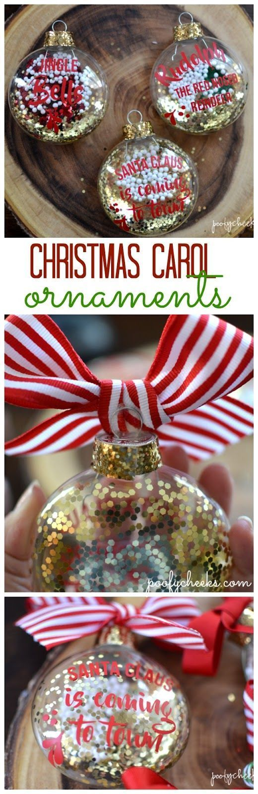 Decorate glass or plastic ornaments with Christmas Carol cut files. Download the free cut files to use with your Cricut or Silhouette machine. #PoleDanceSilhouette
