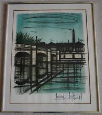 Original Bernard Buffet Lithograph Pont de La Concorde Signed In Stone w/ COA