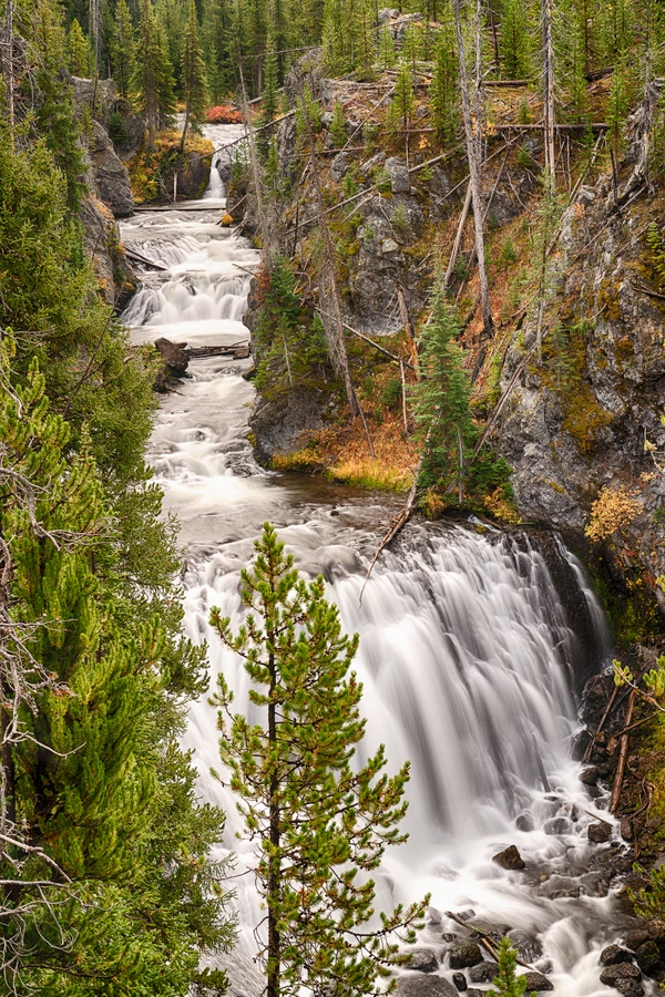 Kepler Cascade on the Firehole River in Yellowstone National Park by Dennis Mook, via 500px