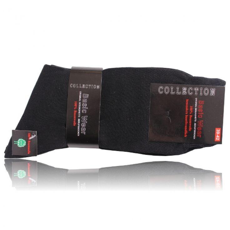 Stabile Berufssocken 100% Baumwolle schwarz - 5 Paar